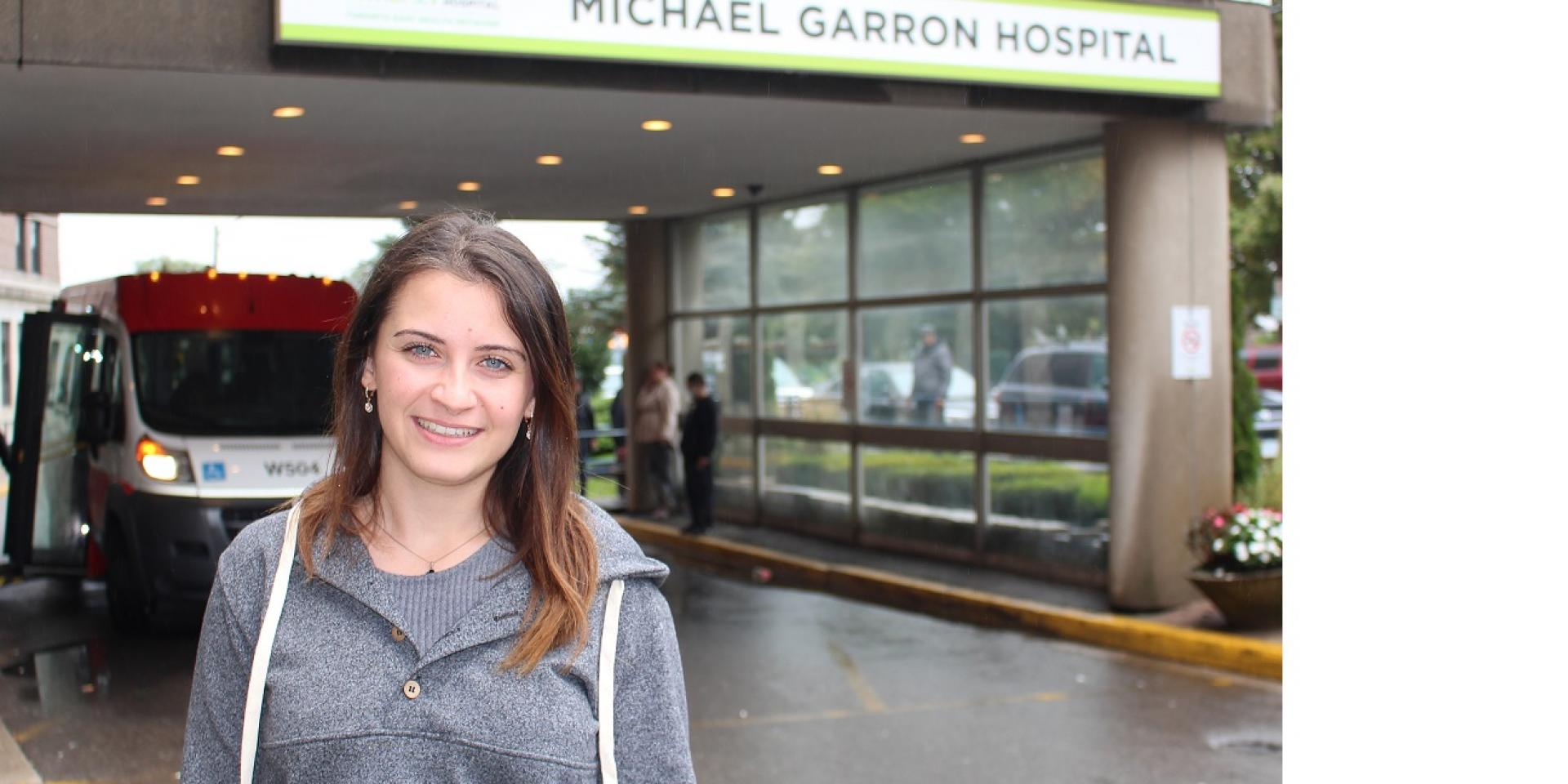 Matina Michelis in front of Michael Garron Hospital