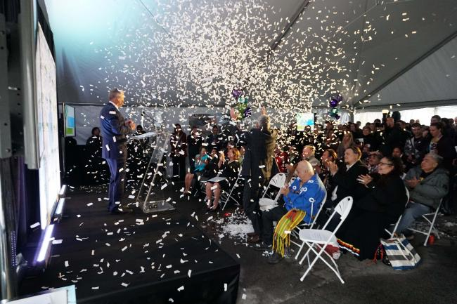 Confetti spraying over the audience at the Heart of the East campaign launch