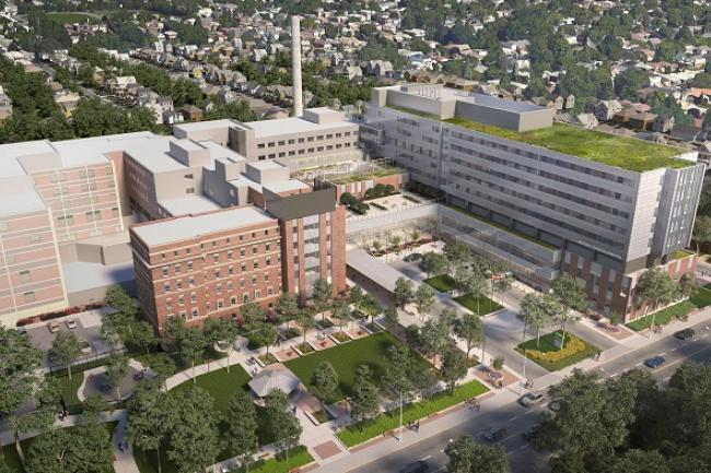 aerial view of architect's rendering of the new hospital campus
