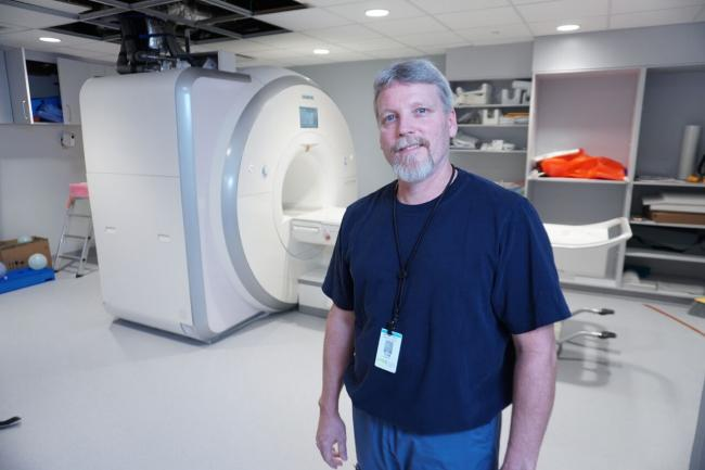 Senior MRI Technologist Tom Hocking with Michael Garron Hospital's new MRI