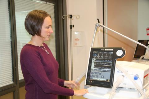 Lindsay Martinek with bipap ventilator