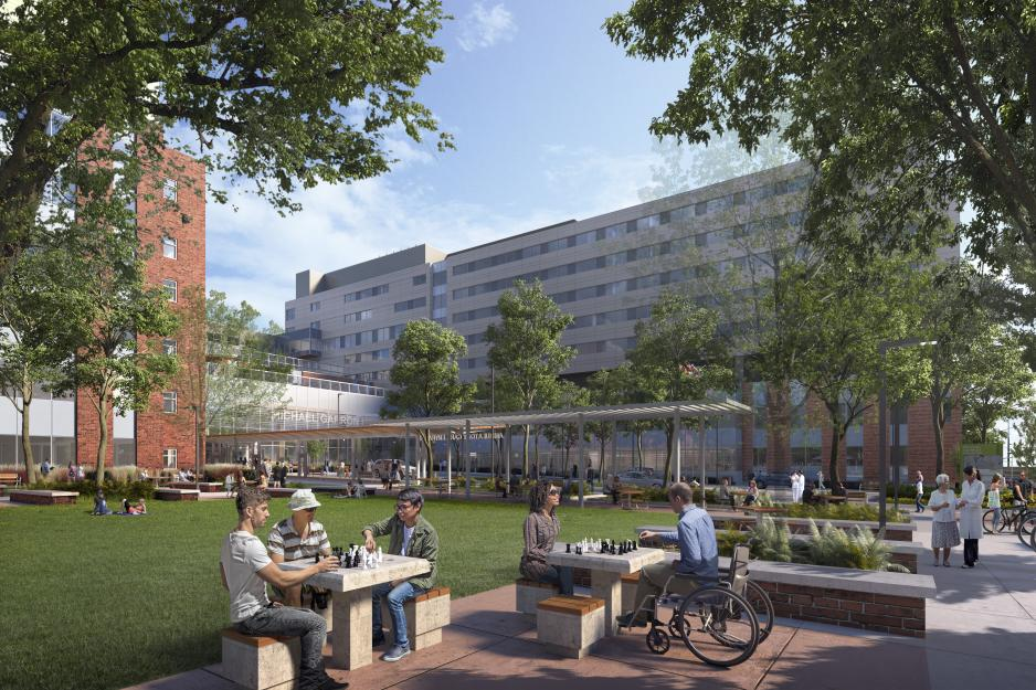 Rendering of MGH's new outdoor community hub